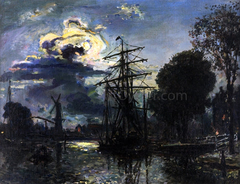 Johan Barthold Jongkind Canal in the Moonlight - Hand Painted Oil Painting