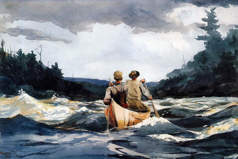 Winslow Homer Canoe in the Rapids - Hand Painted Oil Painting