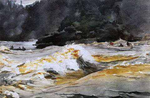 Winslow Homer Canoes in Rapids, Saguenay River - Hand Painted Oil Painting