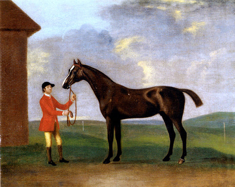 Francis Sartorius Captain Dennis O'Kelly's Basilimo Held By A Groom - Hand Painted Oil Painting