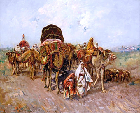 Jose Navarro Llorens Caravana Arabe - Hand Painted Oil Painting