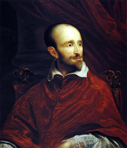 John Smibert Cardinal Guido Bentivoglio (after Anthony Van Dyke) - Hand Painted Oil Painting