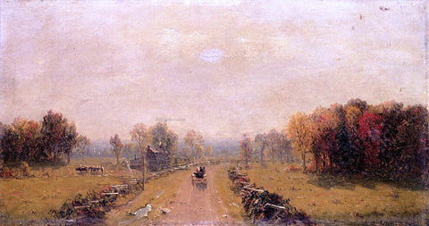 Sanford Robinson Gifford Carriage on a Country Road - Hand Painted Oil Painting