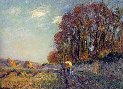 Gustave Loiseau Cart in an Autumn Landscape - Hand Painted Oil Painting