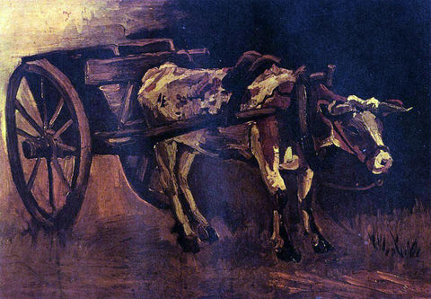 Vincent Van Gogh The Cart with Red and White Ox - Hand Painted Oil Painting