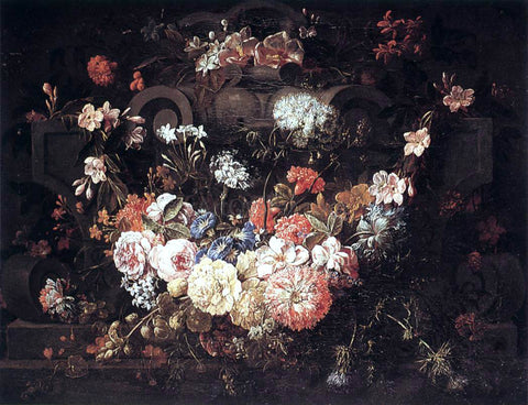 The Younger Gaspar Pieter Verbruggen Cartouche with Flowers - Hand Painted Oil Painting