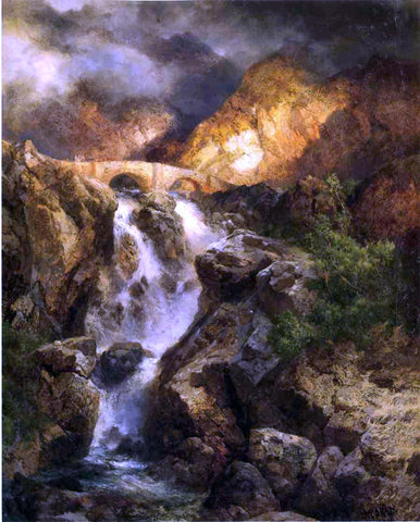 Thomas Moran Cascading Water - Hand Painted Oil Painting