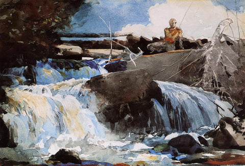 Winslow Homer Casting in the Falls - Hand Painted Oil Painting