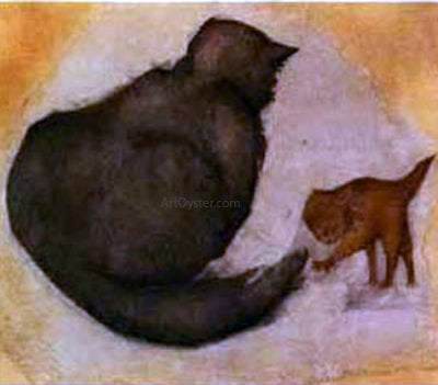 Sir Edward Burne-Jones Cat and Kitten - Hand Painted Oil Painting