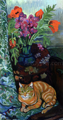 Suzanne Valadon Cat Lying in front of a Bouquet of Flowers - Hand Painted Oil Painting