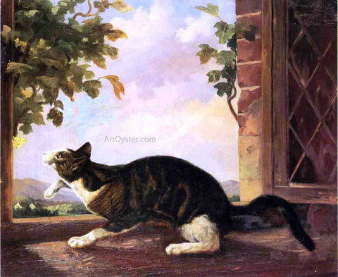 John Woodhouse Audubon Cat Stalking a Butterfly - Hand Painted Oil Painting