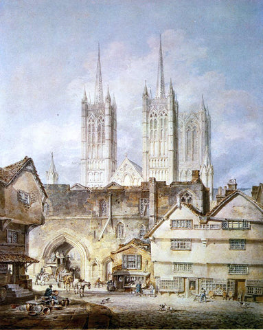 Joseph William Turner Cathedral Church at Lincoln - Hand Painted Oil Painting