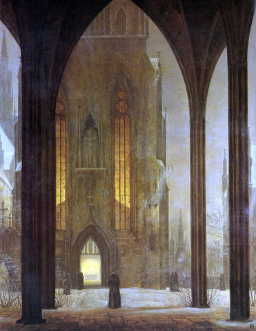 Ernst Ferdinand Oehme Cathedral in Winter - Hand Painted Oil Painting