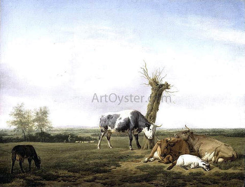 Adriaen Van de Velde Cattle and Goats in a Meadow - Hand Painted Oil Painting