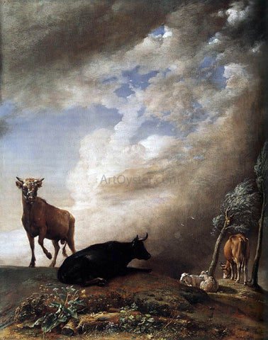 Paulus Potter Cattle and Sheep in a Stormy Landscape - Hand Painted Oil Painting