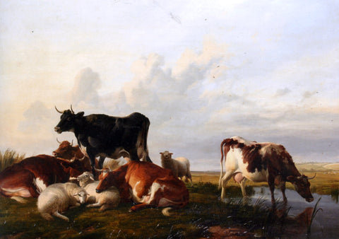 Thomas Sidney Cooper Cattle and Sheep Probably in Canterbury Meadows - Hand Painted Oil Painting