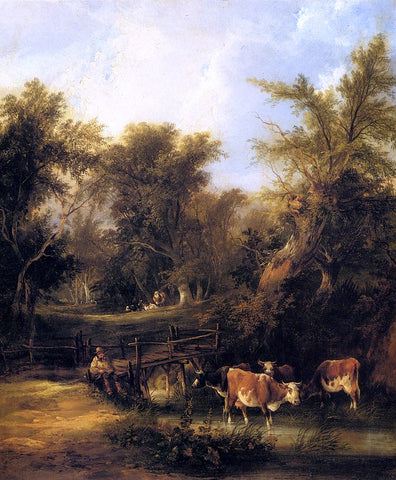 Senior William Shayer Cattle By A Stream - Hand Painted Oil Painting
