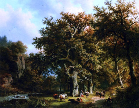Barend Cornelis Koekkoek Cattle by a Stream - Hand Painted Oil Painting