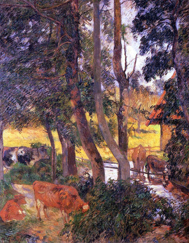 Paul Gauguin Cattle Drinking (also known as Edge of the Pond) - Hand Painted Oil Painting