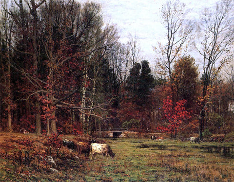 John Joseph Enneking Cattle Grazing (also known as November) - Hand Painted Oil Painting