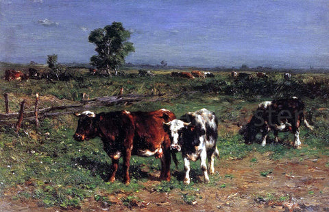 Johannes-Hubertus-Leonardus De Haas Cattle Grazing - Hand Painted Oil Painting