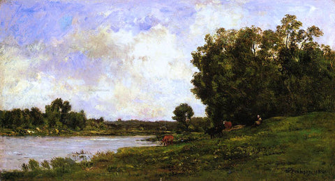 Charles Francois Daubigny Cattle on the Bank of the River - Hand Painted Oil Painting