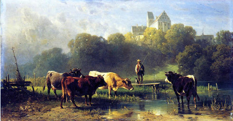 Fredrich Johann Voltz Cattle Watering at a Lake by a Fisherman and His Dog - Hand Painted Oil Painting