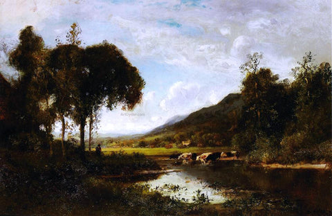 William Keith Cattle Watering at a Pond with a Shepherd Nearby - Hand Painted Oil Painting