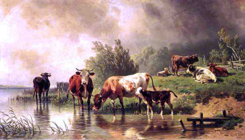 Fredrich Johann Voltz Cattle Watering by Stream under Darkening Skies - Hand Painted Oil Painting