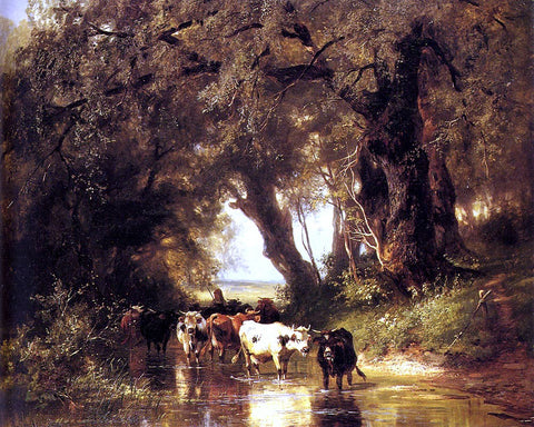 Christian Friedrich Mali Cattle Watering - Hand Painted Oil Painting