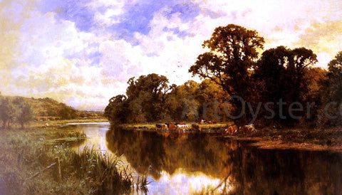 Henry Hillier Parker Cattle Watering on a Riverbank - Hand Painted Oil Painting