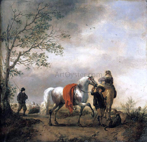 Philips Wouwerman Cavalier Holding a Dappled Grey Horse - Hand Painted Oil Painting