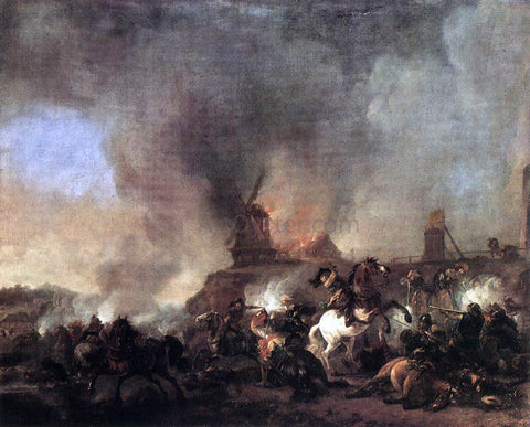 Philips Wouwerman Cavalry Battle in Front of a Burning Mill - Hand Painted Oil Painting