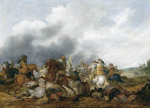 Palamedes Palamedesz Cavalry Battle Scene - Hand Painted Oil Painting