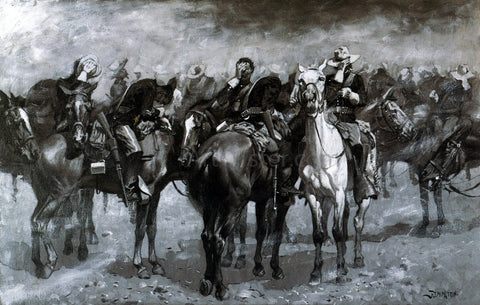 Frederic Remington Cavalry in an Arizona Sandstorm - Hand Painted Oil Painting