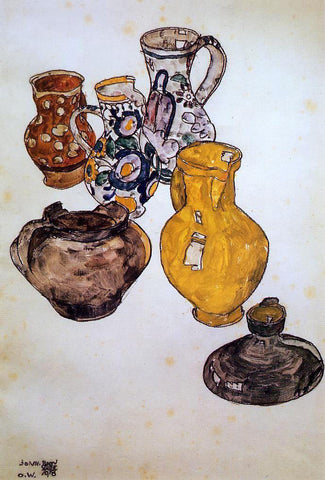 Egon Schiele Ceramics - Hand Painted Oil Painting