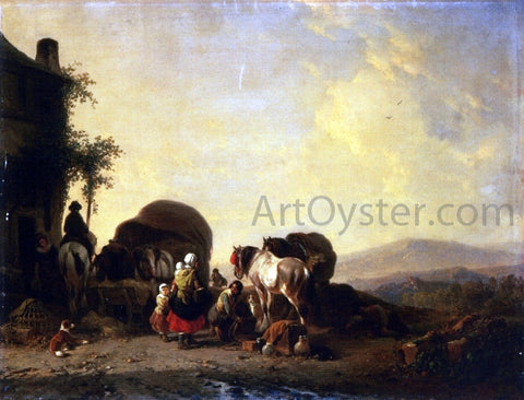 Joseph Morenhout Changing Horses - Hand Painted Oil Painting