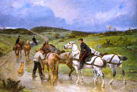 Pierre Auguste Brunet-Houard Changing Horses - Hand Painted Oil Painting