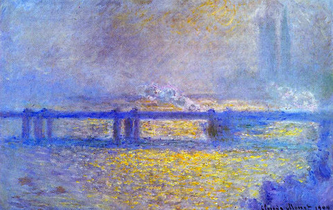 Claude Oscar Monet Charing Cross Bridge, Overcast Weather - Hand Painted Oil Painting