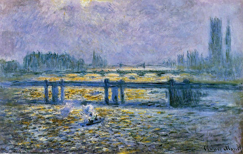Claude Oscar Monet Charing Cross Bridge, Reflections on the Thames - Hand Painted Oil Painting