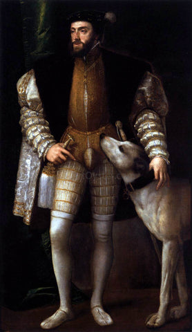 Titian Charles V Standing with His Dog - Hand Painted Oil Painting