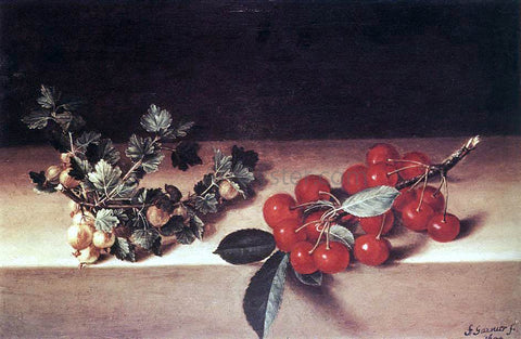 Francois Garnier Cherries and Gooseberries on a Table - Hand Painted Oil Painting
