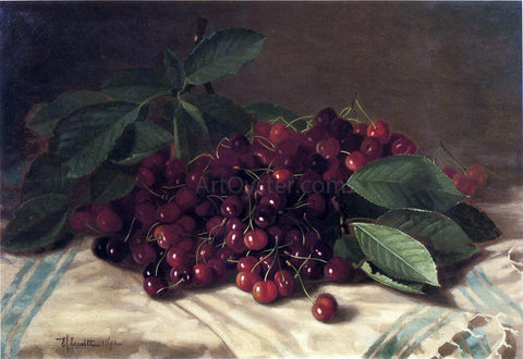 Edward C Leavitt Cherries on a Tabletop - Hand Painted Oil Painting