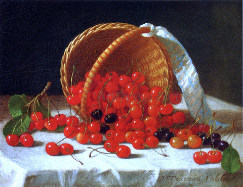 John F Francis Cherries Spilling from a Basket - Hand Painted Oil Painting