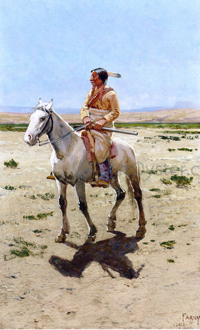 Henry F Farney Cheyenne Scout - Hand Painted Oil Painting