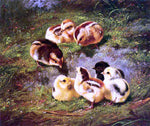 Arthur Fitzwilliam Tait Chickens - Hand Painted Oil Painting