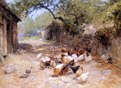 Ernst Walbourn Chickens in a Farmyard - Hand Painted Oil Painting
