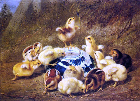 Arthur Fitzwilliam Tait Chicks and Delft Bowl - Hand Painted Oil Painting