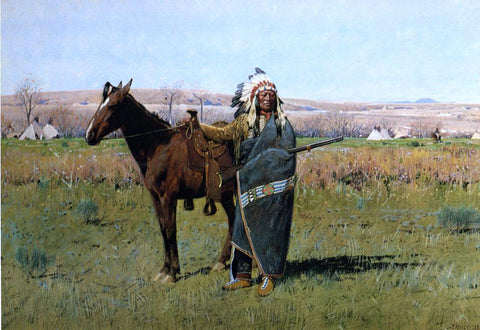 Henry F Farney Chief Spotted Tail - Hand Painted Oil Painting