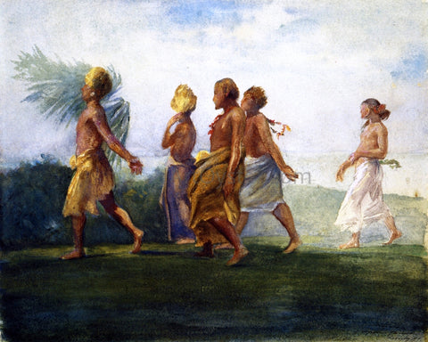 John La Farge Chiefs and Chiefesses Passing on Their Way to a Great Conference, Evening, Samoa - Hand Painted Oil Painting